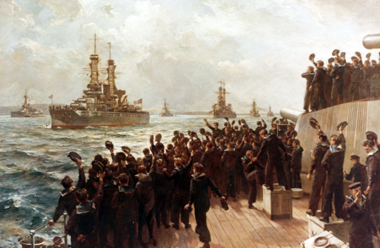 """Arrival of the American Fleet at Scapa Flow, 7 December 1917"" Oil on canvas by Bernard F. Gribble, depicting Battleship Division Nine being greeted by British Adm. Sir David Beatty and the crew of HMS Queen Elizabeth. Ships of the American column are (from front) New York, Wyoming, Florida and Delaware. Courtesy of the U.S. Navy Art Collection, Washington, D.C. (Naval History and Heritage Command Photograph NH 58841-KN)"