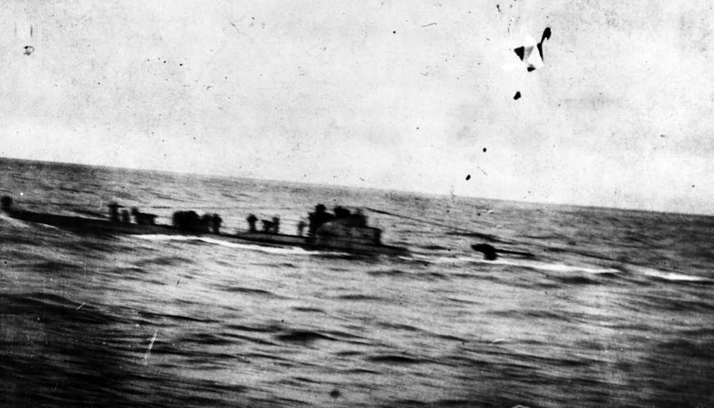 U-58 on the surface making ready to surrender after her engagement with Fanning and Nicholson on 17 November 1917. Photo taken from Nicholson. Courtesy of Rev. W.R. Siegart. (Naval History and Heritage Command Photograph NH 54060)