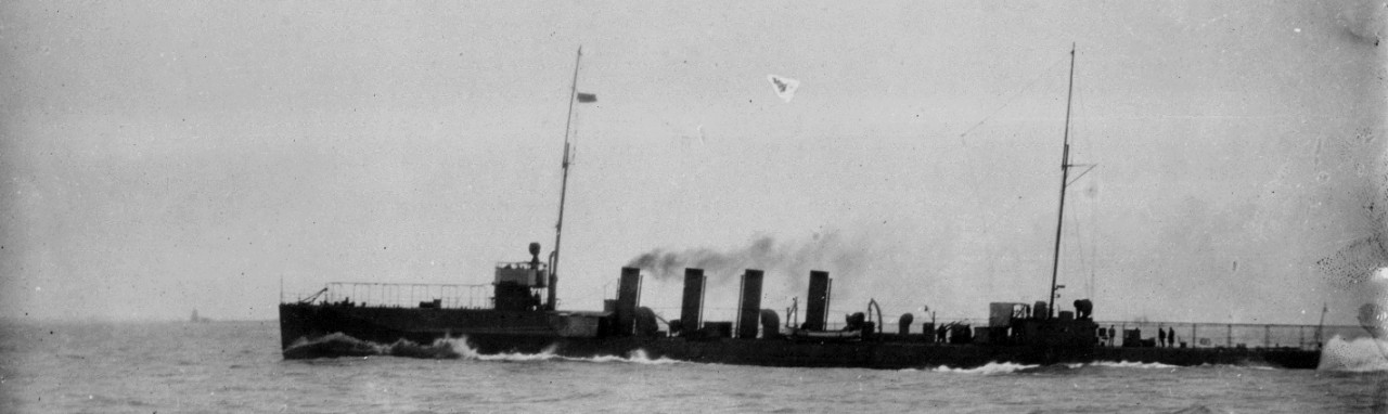 On her trials, O'Brien makes 29.41 knots during 1914. Note at this point her main battery has not yet been fitted. (Naval History and Heritage Command Photograph NH 44571)