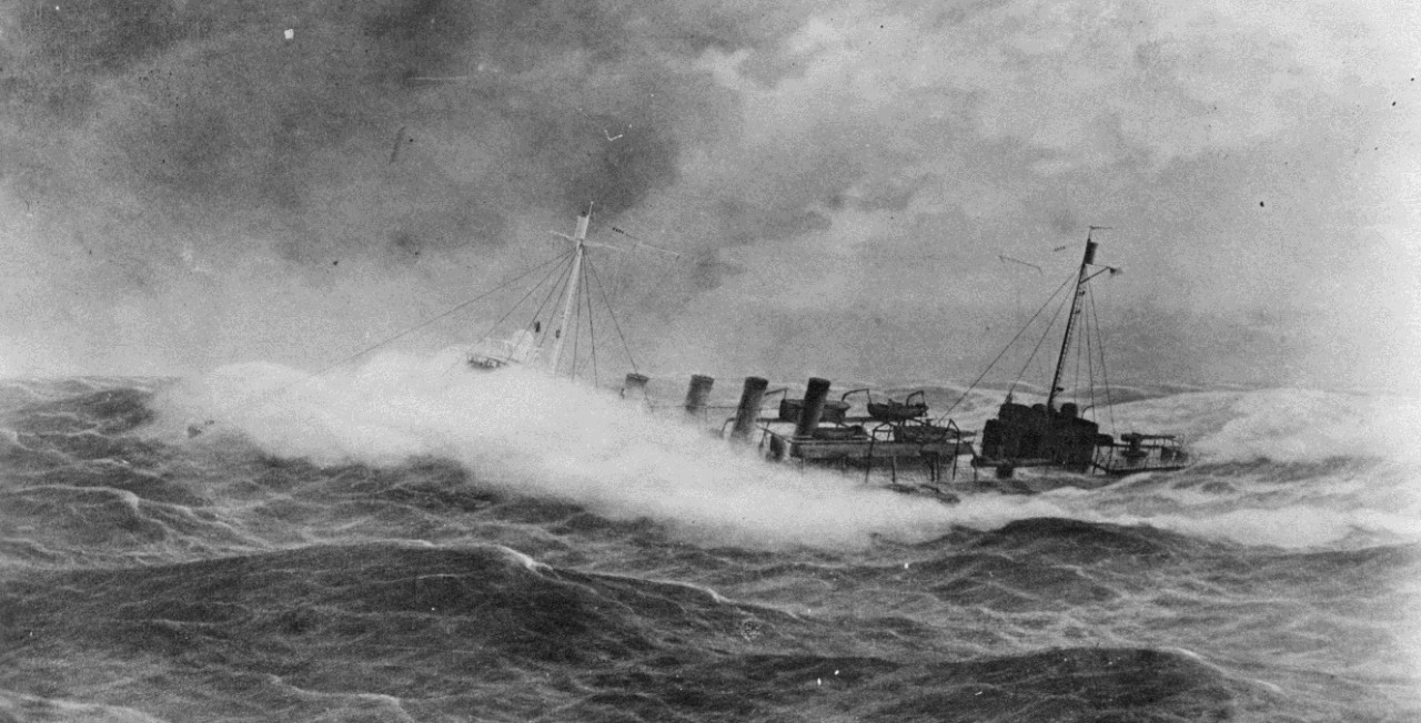 O'Brien buries her bow in white water during a storm south of Ireland while on escort duty in December 1917 in this dramatic painting by Burnell Poole, 1925. (Naval History and Heritage Command Photograph NH 1048)