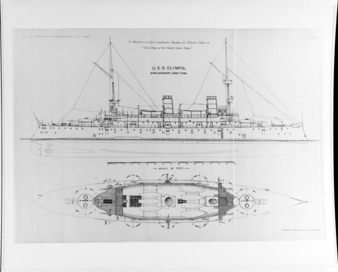 Unofficial plans of the ship, published in the Transactions of the Society of Naval Architects and Marine Engineers, 1893. (Deutsch Lithographic and Printing Co., Baltimore, Md., 1893, U.S. Navy Photograph NH 70108, Photographic Section, Naval History and Heritage Command)