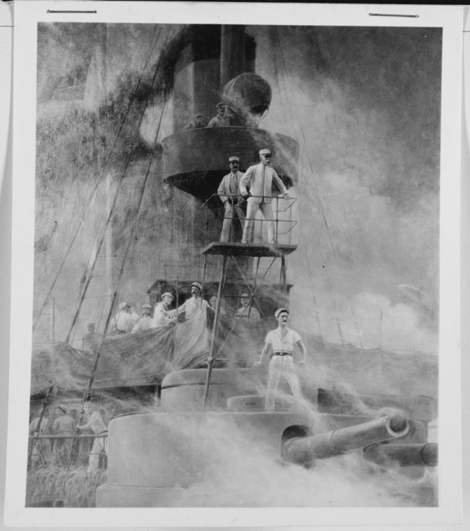 Rufus F. Zogbaum portrays Dewey and Gridley on board the flagship amidst the smoke as the Battle of Manila Bay begins, 1 May 1898. (U.S. Navy Photograph NH 123397, Art Gallery, Naval History and Heritage Command)