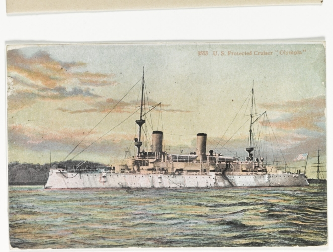 A color tinted postcard of the ship published in the early 1900s shows her clean lines. (Unattributed U.S. Navy Photograph NH 43314-KN, Photographic Section, Naval History and Heritage Command)