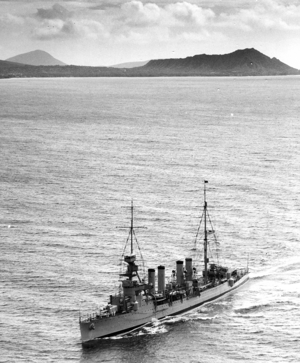 As temporary flagship (she flies a four-star flag at the main) for Adm. Richard H. Leigh, off Diamond Head, Honolulu, T.H., 20 October 1932. Close investigation of the image reveals a black-hulled admiral's barge in skids to port of her no.2 stack. (U.S. Navy Photograph 80-CF-2142, National Archives and Records Administration, Still Pictures Branch, College Park, Md.)