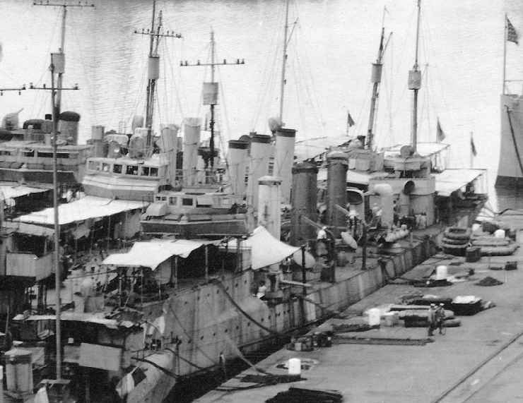 Patterson with several other destroyers in the Philadelphia Navy Yard's Reserve Basin, circa spring 1919. (Naval History and Heritage Command Photograph NH 98604-C)