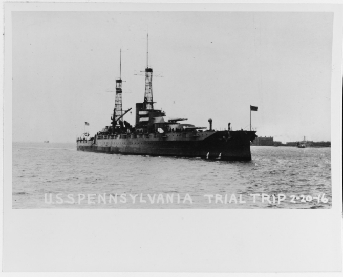 Pennsylvania off Newport News on her trial trip, 20 February 1916. (Naval History and Heritage Command Photograph NH 89492)