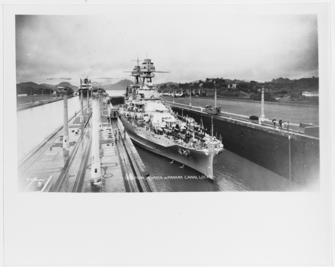 Pennsylvania in the Miraflores Locks, Panama Canal, circa 1931-32. Collection of ADJC Francis Brannigan, USN Ret., 1982. (Naval History and Heritage Command Photograph NH 93734)