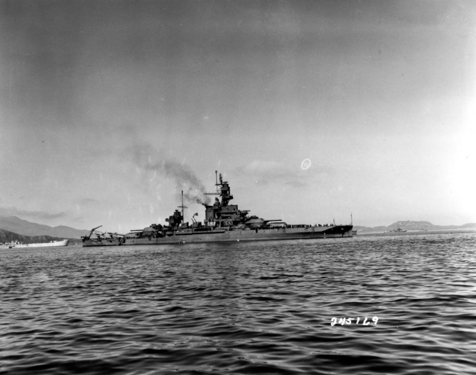Pennsylvania in Adak Bay, Adak, Aleutian Islands, Alaskan Territory, 12 August 1943, just prior to the Kiska operation. An LST is in the left background. (U.S. Army Signal Corps Photograph SC-245169, National Archives and Records Administration, Still Pictures Division, College Park, Md.)