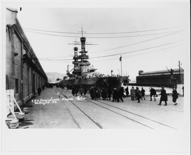 Pennsylvania at Wellington, New Zealand, during the U.S. Fleet's trans-Pacific cruise, 11 August 1925. Photo by Al Lamarre. Collection of Cmdr. Haines H. Lippincott, USN (Chaplain Corps).