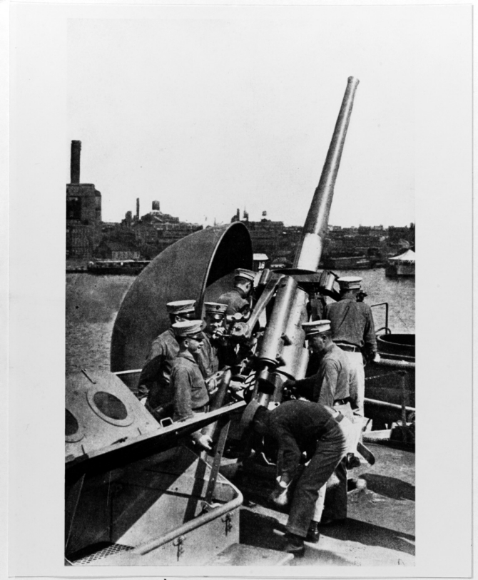 Ship's marines exercise with a 3-inch/50 anti-aircraft gun prior to World War I. Published in The United States Navy Illustrated, C.S. Hammond and Company, New York, 1917. (Naval History and Heritage Command Photograph NH 79493)