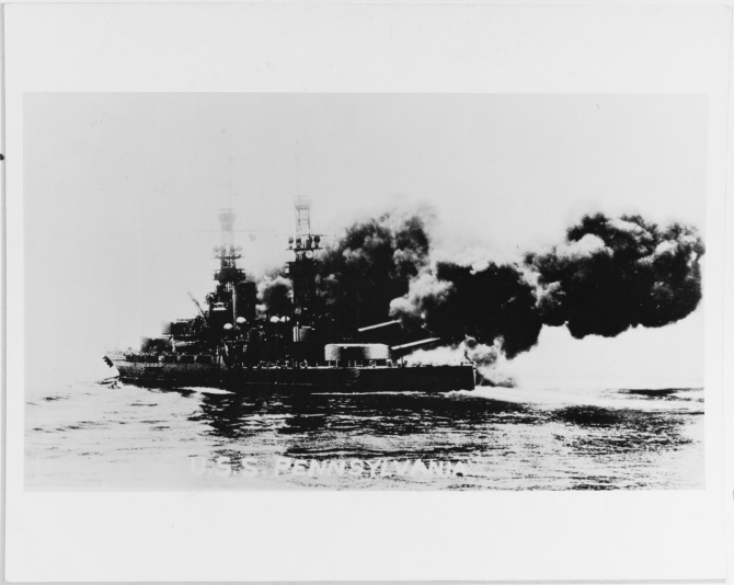 Pennsylvania firing a 14-inch broadside, during the early 1920s. Courtesy of Mrs. D.M. Corn, Las Cruces, New Mexico. (Naval History and Heritage Command Photograph NH 78908)