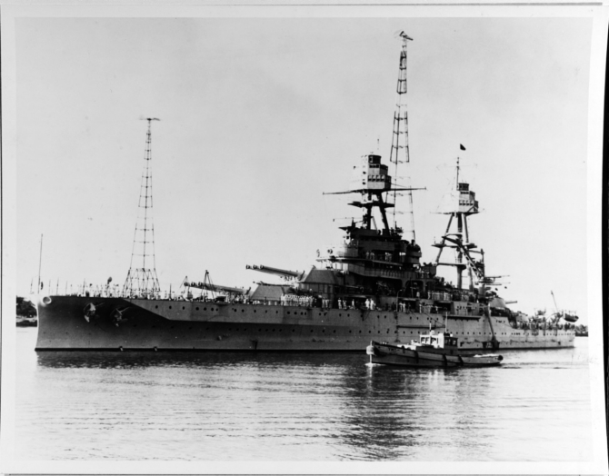 Pennsylvania, Flagship, U.S. Fleet, Adm. Frank H. Schofield, at Pearl Harbor, Territory of Hawaii, 3 February 1932. (Naval History and Heritage Command Photograph NH 67633)