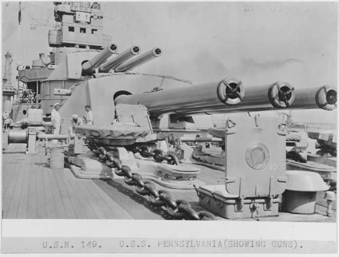 Six of Pennsylvania's 14-inch/45 caliber guns. (Naval History and Heritage Command Photograph NH 123901)