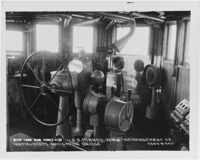 Arrangement of instruments on navigating bridge, New York Navy Yard, 21 January 1919. (Naval History and Heritage Command, NH 76572)