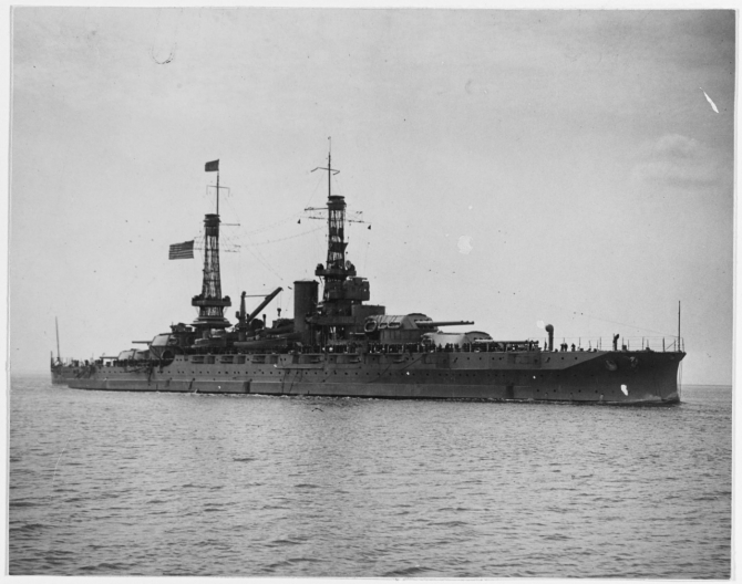 "Pennsylvania, Flagship of Atlantic Fleet Commander, Adm. Henry T. Mayo, steams into New York Harbor with the ""Victory Fleet"" on 14 April 1919 following target practice in Cuban waters. (Naval History and Heritage Command Photograph NH 42734)"