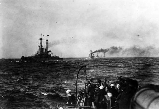 Pennsylvania and the Sixth Battle Squadron of the Grand Fleet escorting George Washington (Id. No. 3018) to Brest, on 13 December 1918. This was President Wilson's first visit to France. (Naval History and Heritage Command Photograph NH 469)