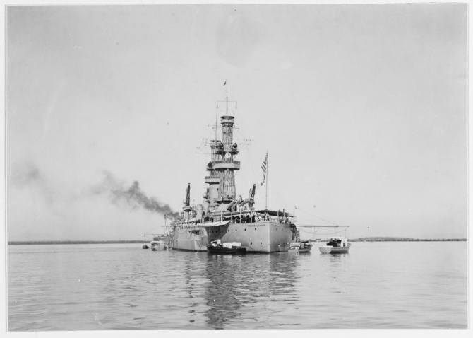Pennsylvania in Guantanamo Bay, Cuba, early in 1920. Note Flag Officer's barge at her stern. (Naval History and Heritage Command Photograph NH 42738)