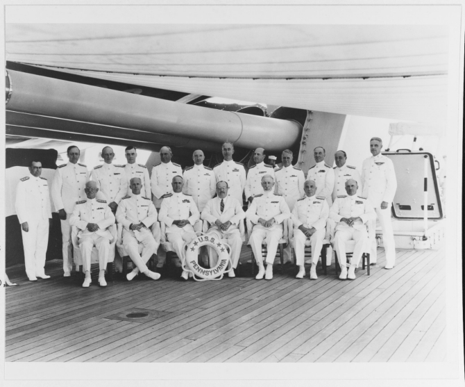 Assistant Secretary of the Navy Henry L. Roosevelt (seated, right center), and Adm. David F. Sellers, Commander in Chief, U.S. Fleet (seated, left center), with other U.S. Fleet flag officers on board Pennsylvania, Spring 1934. Courtesy of Rear Adm. Charles H. Lyman, USN (Ret.), 1972. (Naval History and Heritage Command Photograph NH 76413)