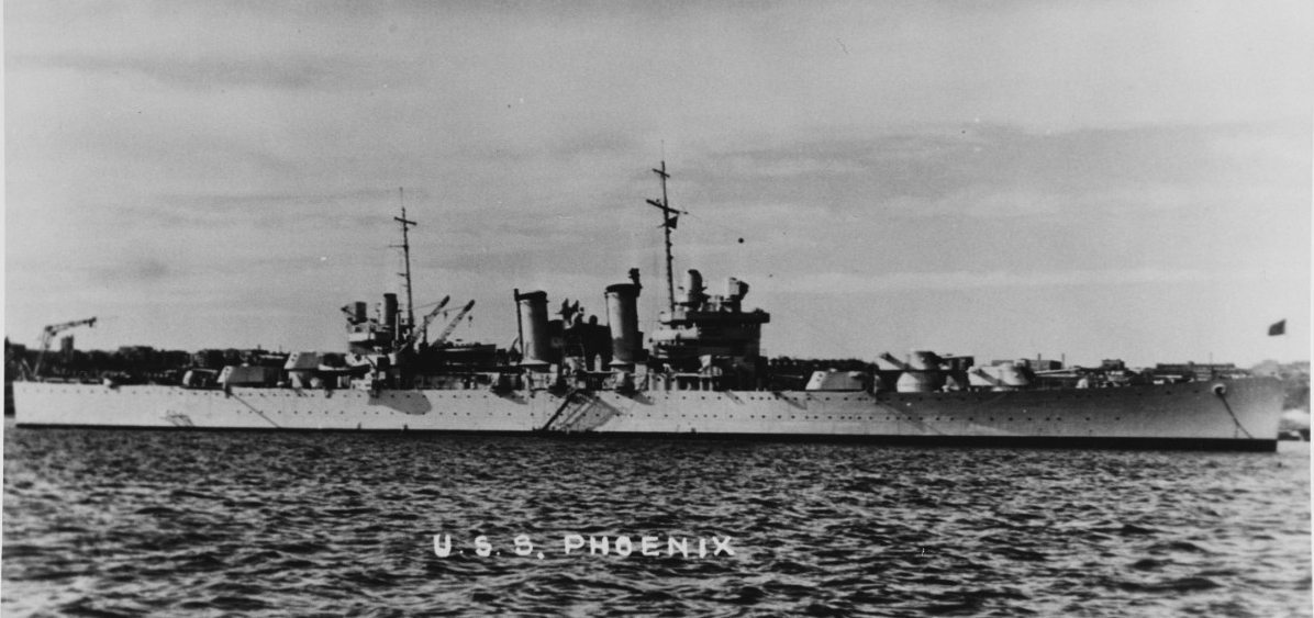 A starboard beam view of Phoenix while at anchor shortly after her commissioning, 1938–1939. (Naval History and Heritage Command Photograph NH 68326, Courtesy of Donald M. McPherson, 1969)