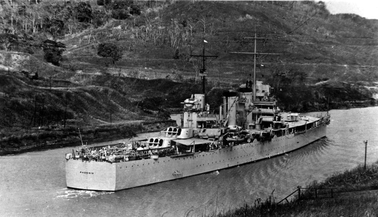 The ship passes through the Panama Canal, circa 1939. (Phoenix (CL-46), Ships History File, Naval History and Heritage Command)