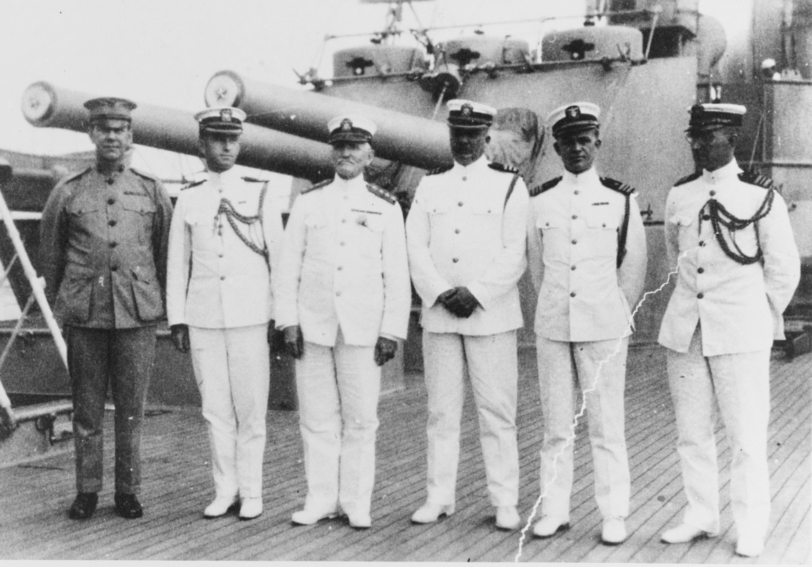 Admiral Caperton, Commander-in-Chief, Pacific Fleet, with staff on USS PITTSBURGH (CA-4)