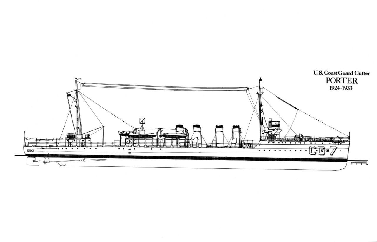 Drawing of USCGD Porter by John A. Tilley, PhD. (USCG Historian's Office)