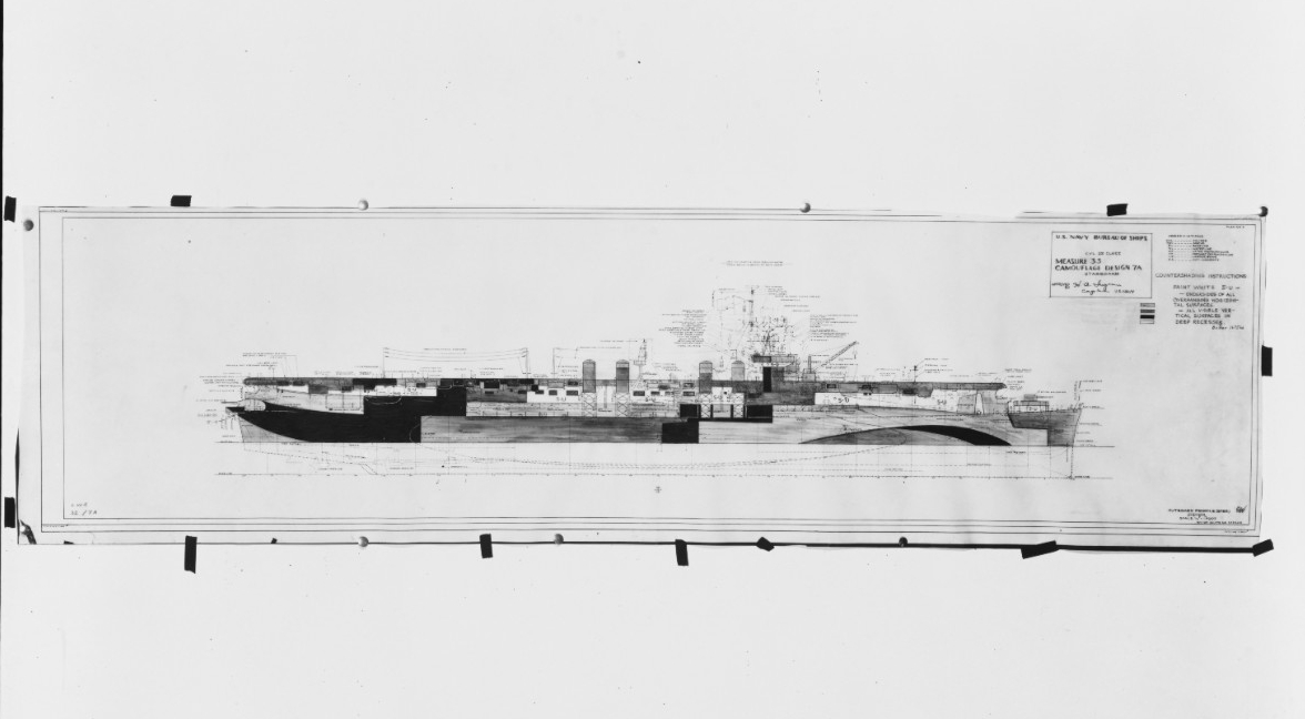 A starboard side drawing prepared by the Bureau of Ships, circa 1943–1944, for a camouflage scheme intended for small aircraft carriers of the Independence (CVL-22) class. Capt. Henry A. Ingram approves the scheme, Camouflage Measure 33, Design 7A, and the Navy applies it to several carriers, including Cowpens, Princeton, and San Jacinto (CVL-30). (U.S. Navy Photograph 80-G-160566, National Archives and Records Administration, Still Pictures Division, College Park, Md.)