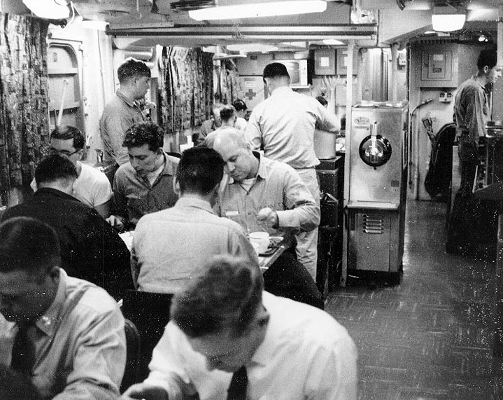 Dining on the cramped mess decks, circa 1967. (Naval History and Heritage Command Photograph NH 75563)