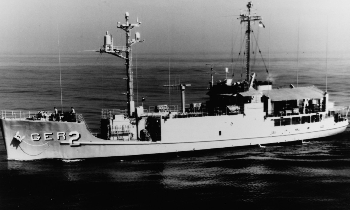 Pueblo rides low in the water as the ship completes her shakedown cruise in southern California waters, 19 October 1967. (Naval History and Heritage Command Photograph 1129208)