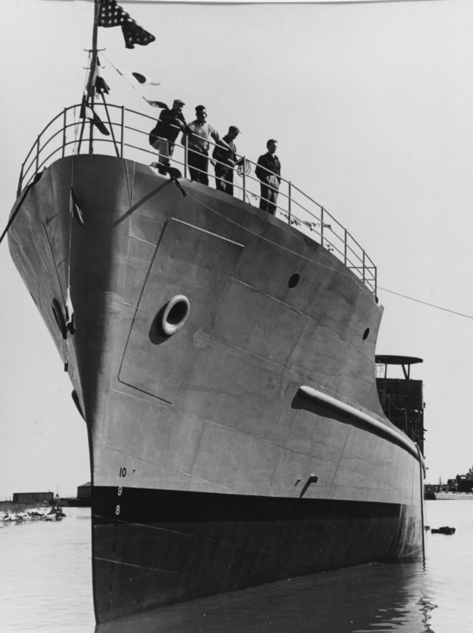 The ship as she appears shortly after launching at Kewaunee, Wisc., 16 April 1944. (Naval History and Heritage Command Photograph NH 74689)