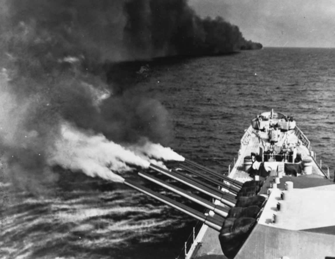 Quincy's forward 8-inch guns blast the Germans while another ship lays a smoke screen to prevent the enemy from accurately returning fire, August 1944. (U.S. Navy Photograph 80-G-367853, National Archives and Records Administration, Still Pictures Branch, College Park, Md.)
