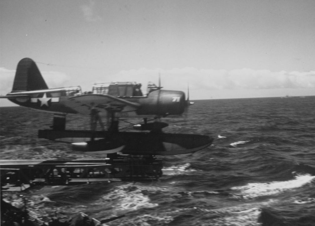 The ship catapults one of her Kingfishers from astern, most likely during the landings off southern France, August 1944. (U.S. Navy Photograph 80-G-K-1950, National Archives and Records Administration, Still Pictures Division, College Park, Md.)