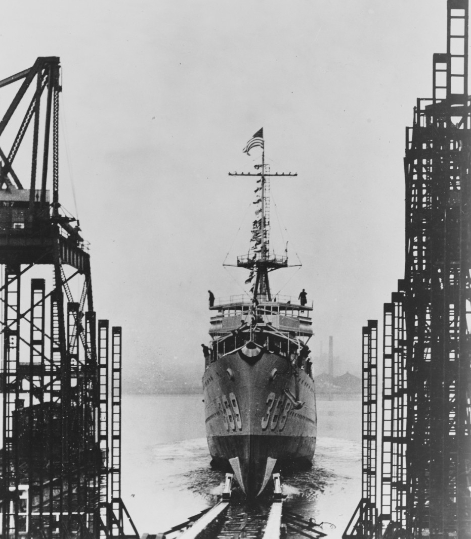 Reid being launched at Kearny, 11 January 1936. (Naval History and Heritage Command Photograph NH 60503)