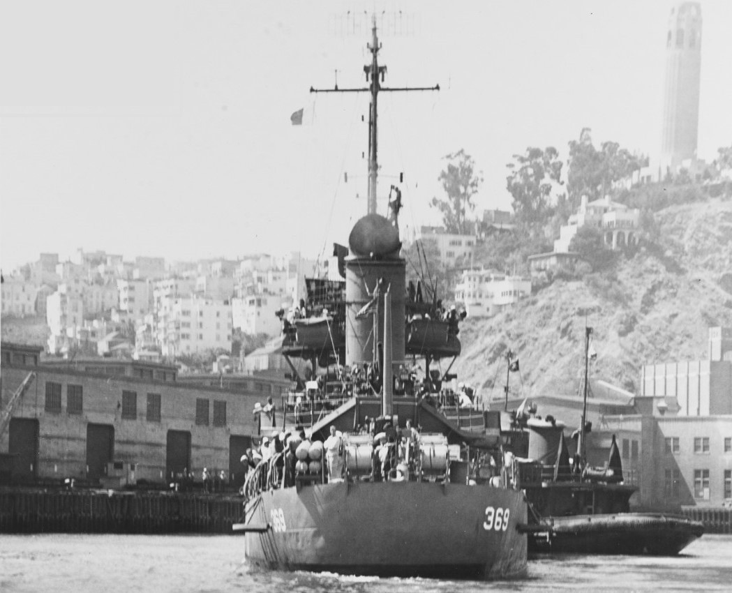 View of Reid from astern, while moored at Mare Island, Calif., on 11 July 1943. (U.S. Navy Bureau of Ships Photograph 19-N-48263, National Archives and Records Administration, Still Pictures Division, College Park, Md.)