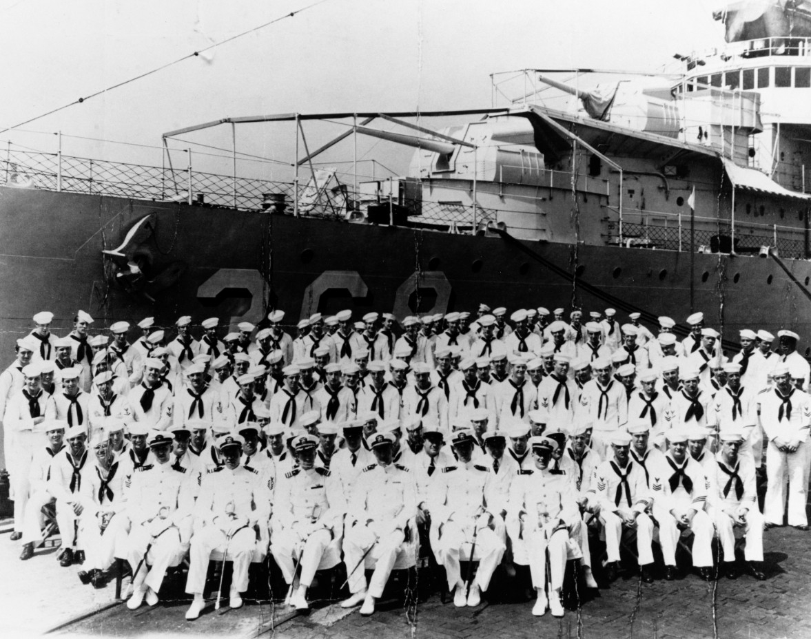 The officers and men of the destroyer Reid posing for a picture at the New York Navy Yard, circa 1937. (Naval History and Heritage Command Photograph NH 86794)