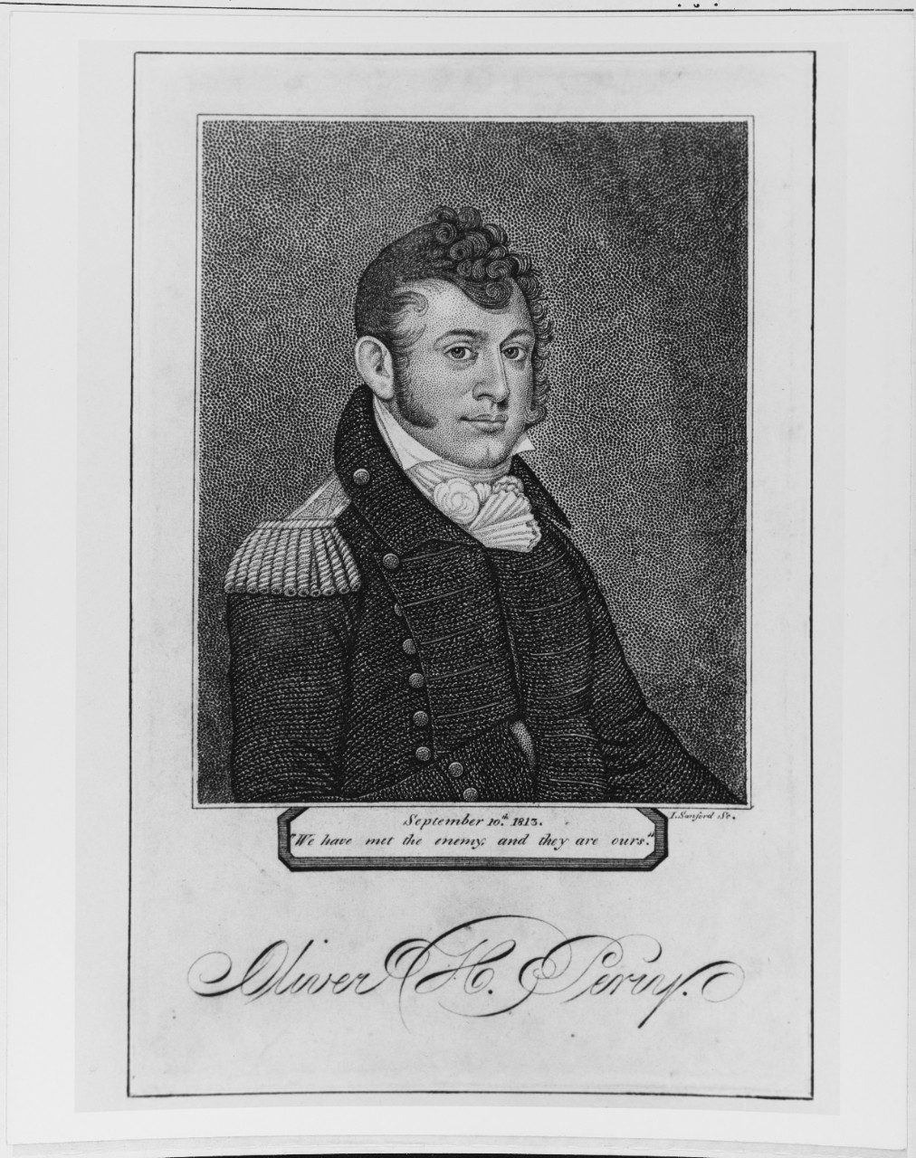 Engraving of Como. Oliver H. Perry, USN, by I. Sanford, St. Born South Kingston, R.I., 23 August 1785. (Naval History and Heritage Command Photograph NH 66660)