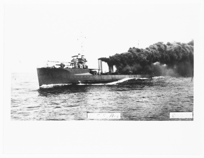 Roe laying a smoke screen, prior to the World War. (Photographed by Waterman. Naval History and Heritage Command Photograph NH 100400; courtesy of Jack Howland, 1985).