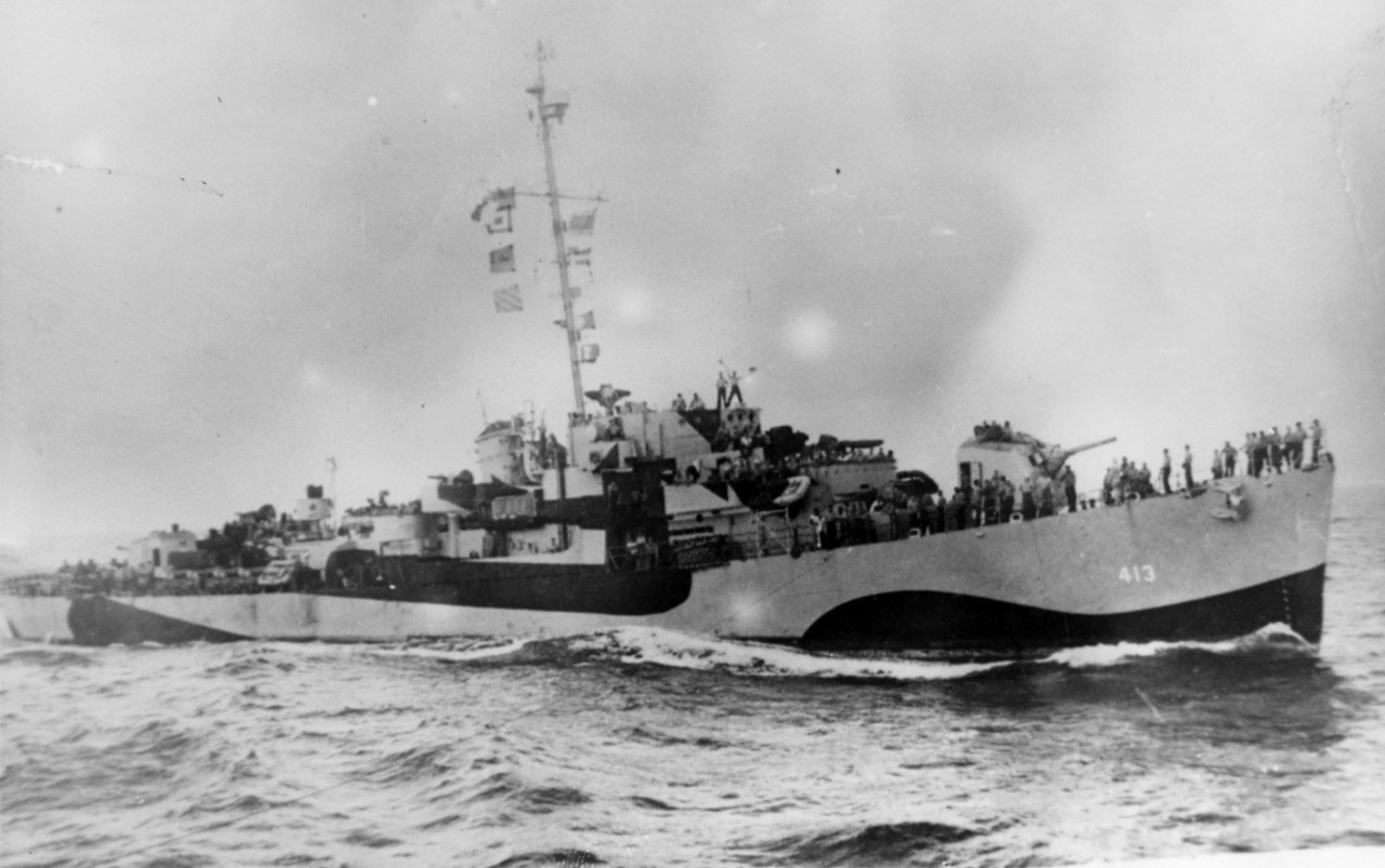 Photographed from sister ship Walter C. Wann, October 1944. (Naval History and Heritage Command Photograph NH 96011)