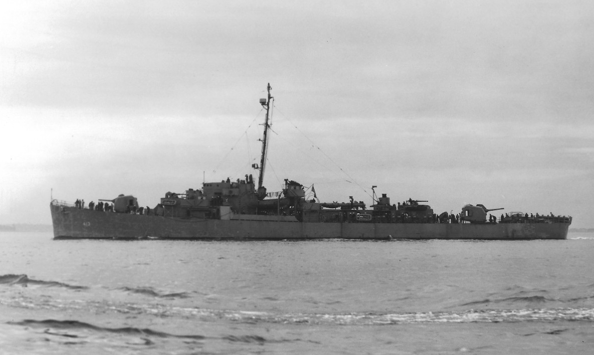 Samuel B. Roberts off Boston, circa June 1944. (Naval History and Heritage Command Photograph NH 90603)