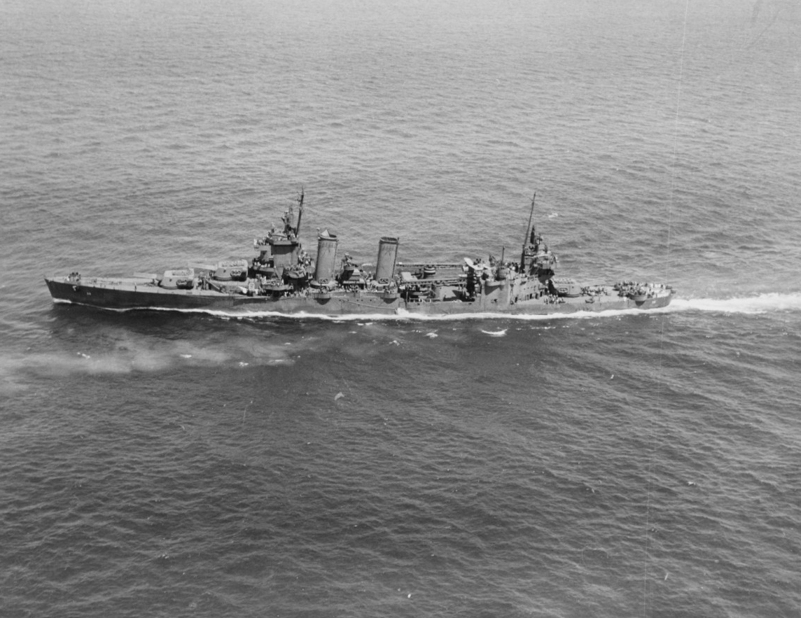 San Francisco (CA-38) underway on 8 April 1944.
