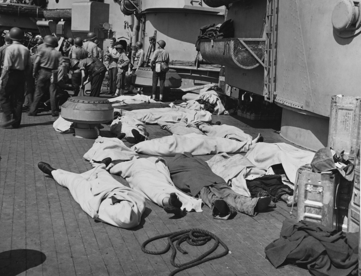 Blankets cover the men who have paid the ultimate price for freedom. (U.S. Navy Photograph 80-G-54353, National Archives and Records Administration, Still Pictures Division, College Park, Md.)