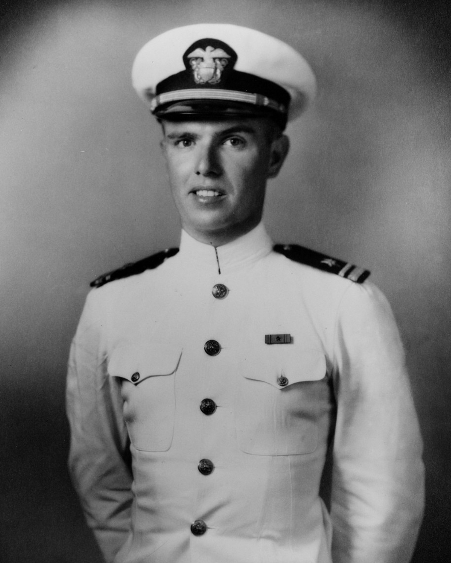 "Lt. John J. Kirwin, a turret officer, received the Navy Cross posthumously for ""gallantly sacrificing his own life in order that his men might live."" (U.S. Navy Photograph NH 86081, Naval History and Heritage Command)"