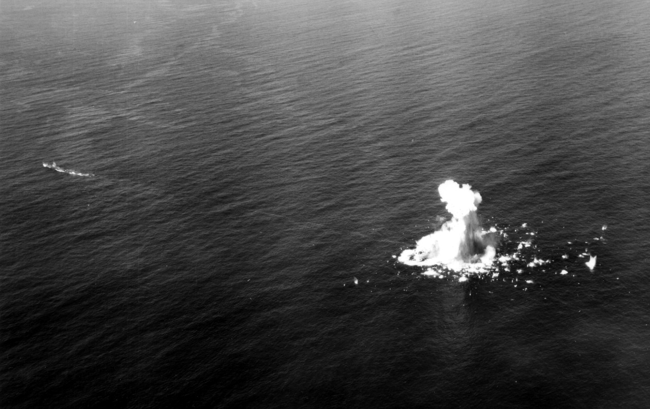 Ex-LST-482 (nearly obscured in the explosion) takes a Mk. 14, Mk.3A torpedo (note track) from Segundo's stern tubes during an exercise on 29 February 1956. (U.S. Navy Photograph 80-G-688126, National Archives and Records Administration, Still Pictures Division, College Park, Md.)