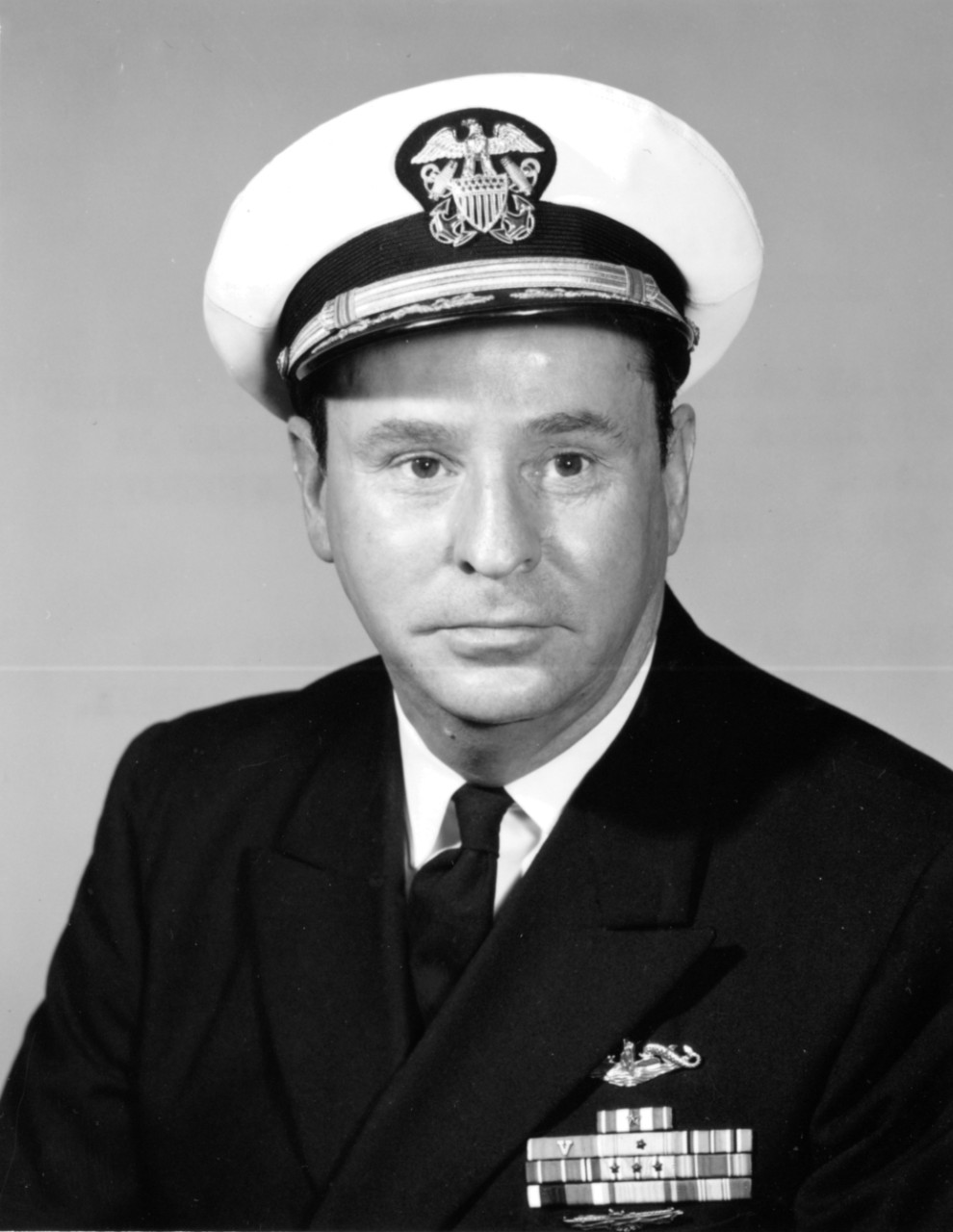 Lt. Cmdr. Stephen L. Johnson graduated from the United States Naval Academy in 1939 and served in battleship Oklahoma (BB-37) until June 1940. He went to submarine school shortly before the war began and served in Shad as gunnery officer before serving as commanding officer of S-32 (SS-137) and executive officer of Tunny (SS-282). (Naval History and Heritage Command Photograph, Officer Biography Files).
