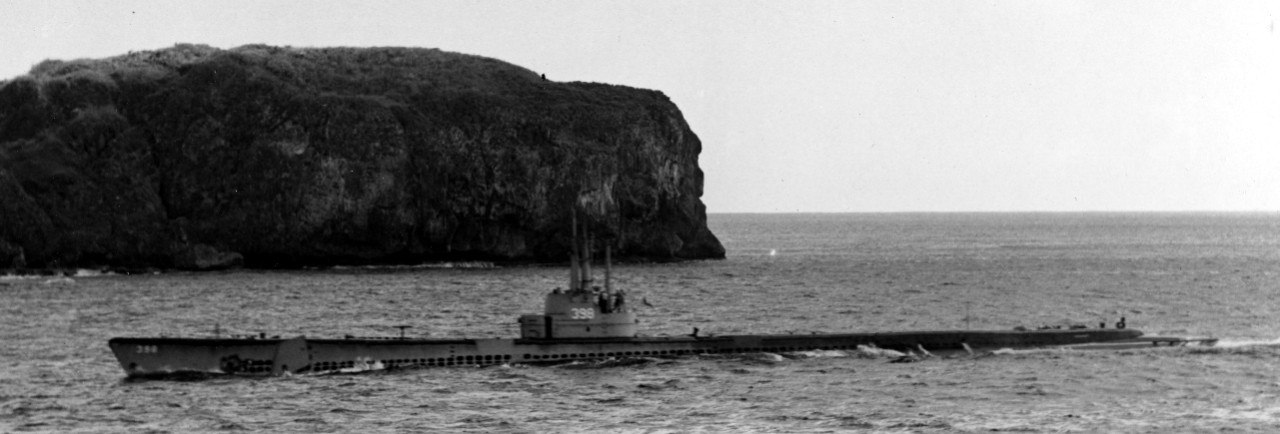 Segundo, part of the Seventh Fleet's Task Force Zebra, enters Apra Harbor, Guam, 14 June 1950. (U.S. Navy Photograph 80-G-427670, AF2c C.E. Ames, National Archives and Records Administration, Still Pictures Division, College Park, Md.)