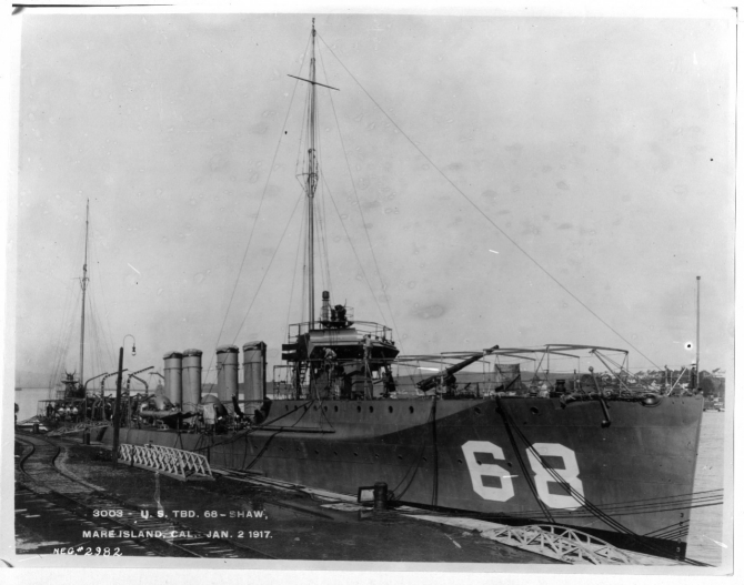 Shaw fitting out at Mare Island Navy Yard, 2 January 1917, three months prior to her being commissioned. Two of her 4-inch guns, as well as her 1-pounder antiaircraft gun, are visible in this image. (U.S. Navy Bureau of Ships Photograph 19-N-2982, National Archives and Records Administration, Still Pictures Branch, College Park, Md.)