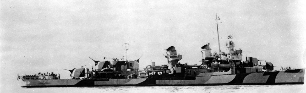 Starboard side view of Spence painted in Measure 31, Design 2c, camouflage in the waters off Hunters Point,9 October 1944.  (U.S. Navy Bureau of Ships Photograph BS-80397, 19-LCM Collection, National Archives and Records Administration, Still Pictures Division, College Park, Md.)