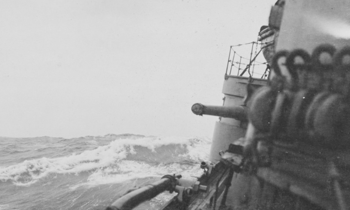 The ship rolls mercilessly as she battles heavy swells while crossing the Atlantic, circa 1918. (U.S. Navy Photograph NH 108519, Naval History and Heritage Command)