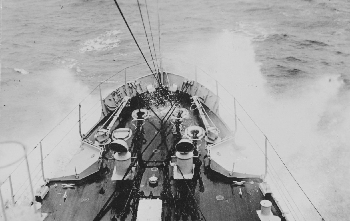 Salt spray rises over the bow as the warship crashes through the Atlantic swells, October 1918. (U.S. Navy Photograph NH 108527, Naval History and Heritage Command)