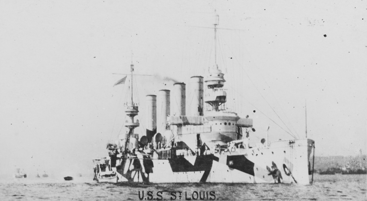 St. Louis sports a wartime disruptive camouflage pattern, August 1918. (U.S. Navy Photograph NH 108517, Naval History and Heritage Command)